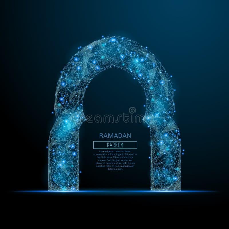 De la mezquita de la puerta azul polivinílico bajo stock de ilustración