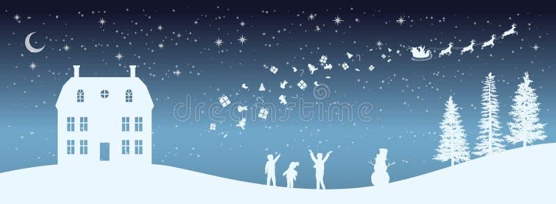 De la Navidad panorama cerca Siluetas de los niños que miran el trineo de Santas Escena de la celebración Paisaje de papel del pu stock de ilustración