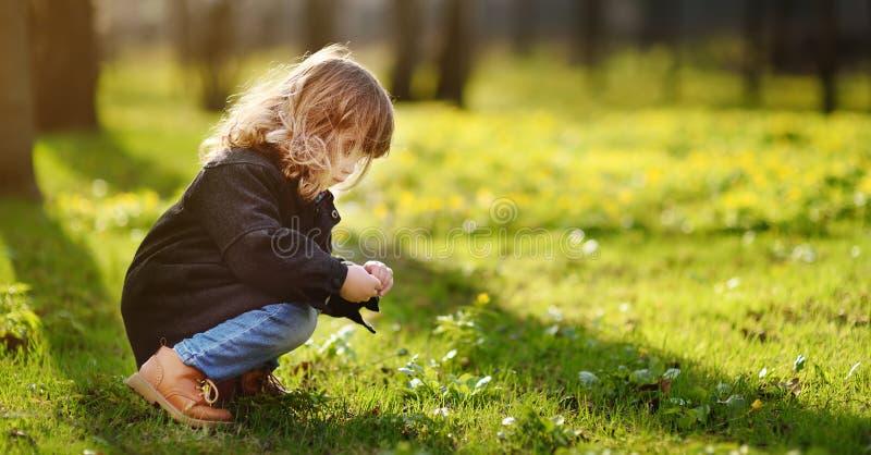 De la niña retrato lindo al aire libre en día soleado de la primavera imágenes de archivo libres de regalías