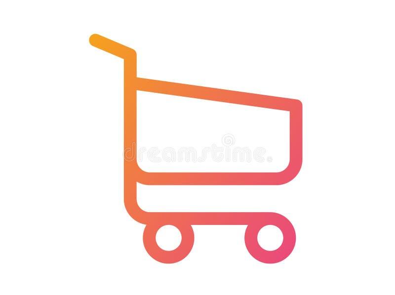 De la pendiente del vector del interfaz línea icono plano del carro de la compra del pago y envío en línea stock de ilustración