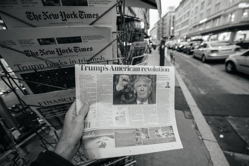 De la prensa americana nuevo los E.E.U.U. presidente de Donald Trump imagen de archivo