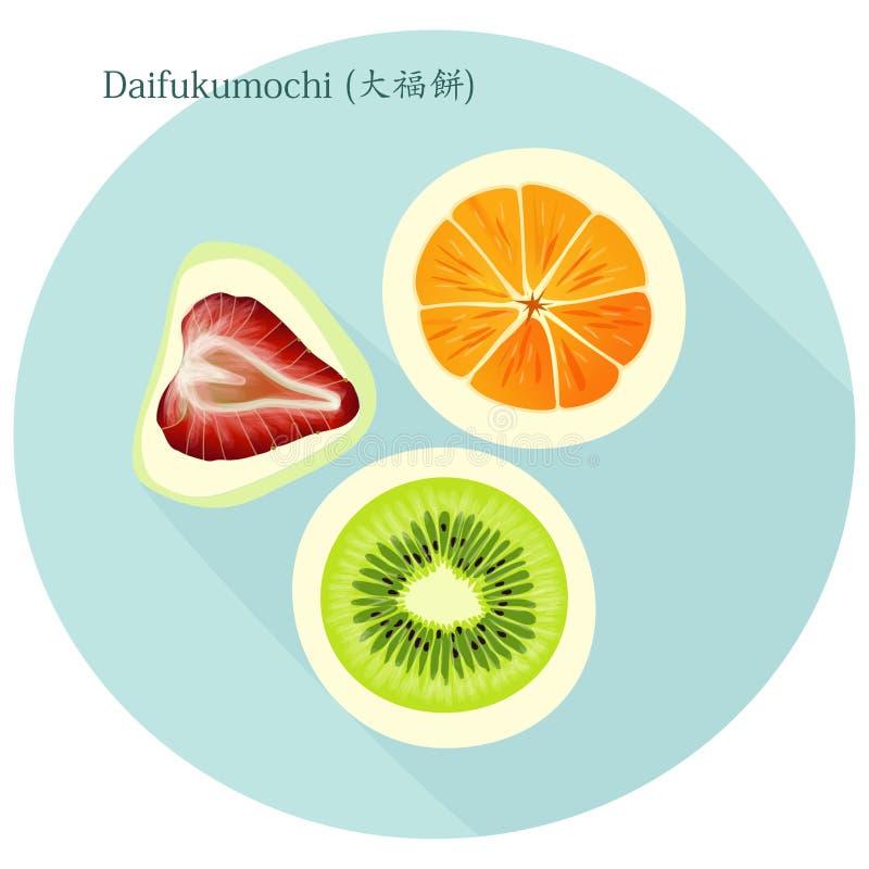 ` De la suerte del ` de Daifukumochi o de Daifuku gran, dulces japoneses que consisten en una torta de arroz pegajosa del pequeño ilustración del vector