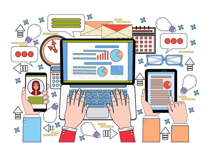 De la tableta del ordenador portátil y del teléfono de Smart de las finanzas de las manos que trabajan en informe de los datos, o ilustración del vector