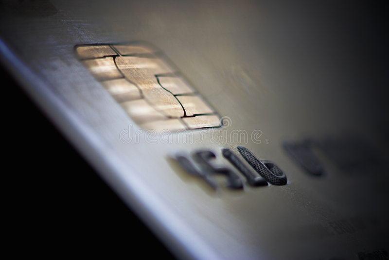 De la tarjeta de crédito con la viruta imagenes de archivo