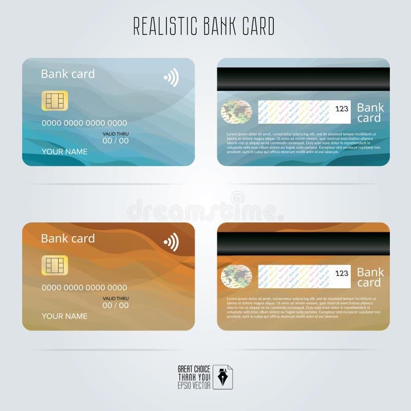 De la tarjeta de crédito Dos caras Fondos coloreados de la onda Vector de la plantilla stock de ilustración