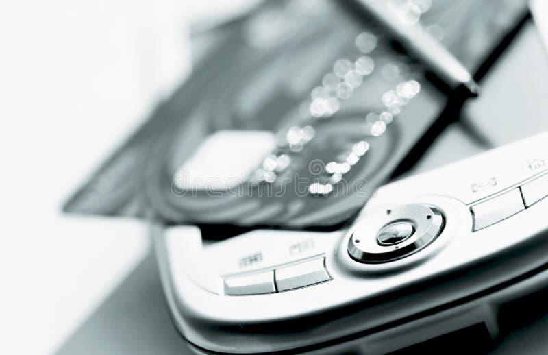 De la tarjeta de crédito y palmtop imágenes de archivo libres de regalías