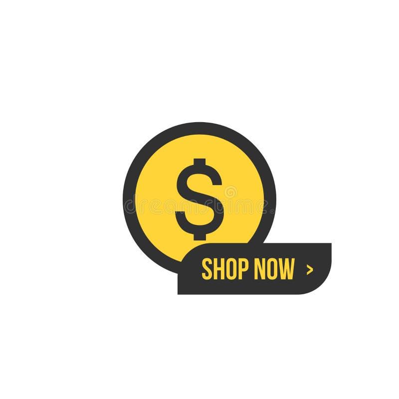 De la tienda botón ahora con la muestra de dólar Muestra de las compras Símbolo de moneda del dinero del dólar Indicadores planos ilustración del vector