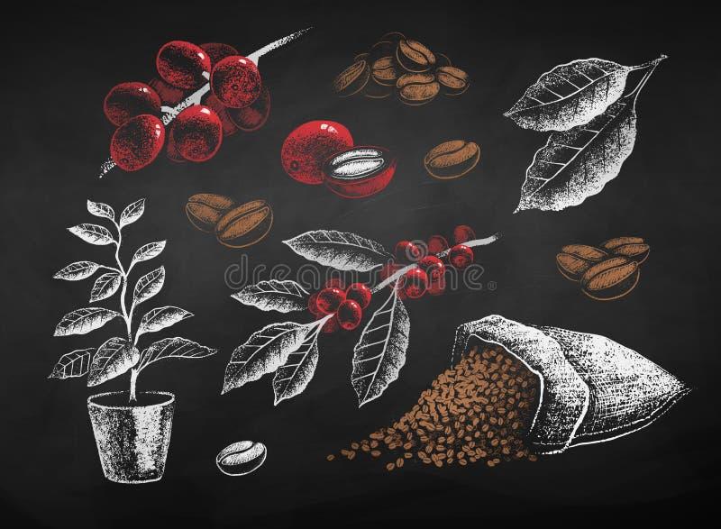 De la tiza marrón del vector sistema de café exhausto blanco y roja stock de ilustración