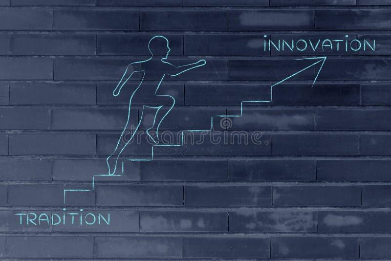 Download De La Tradition à L'innovation, Métaphore S'élevante D'escaliers D'homme Illustration Stock - Illustration du accomplissement, initiative: 77156025