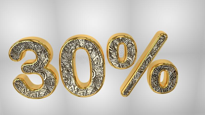 % de la venta de la promoción del descuento hecha del texto realista del helio del oro, representación 3D ilustración del vector