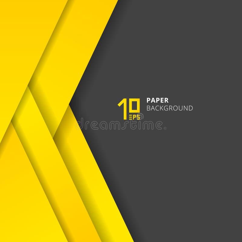 De laag gele document van malplaatje sneed het abstracte geometrische driehoeken stijl op grijze ruimte als achtergrond voor teks stock illustratie