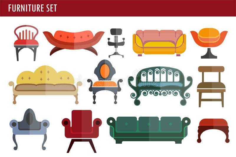 De laag, de stoel en de leunstoel binnenlandse de zetels vectorpictogrammen van de huisruimte van de meubilairbank stock illustratie