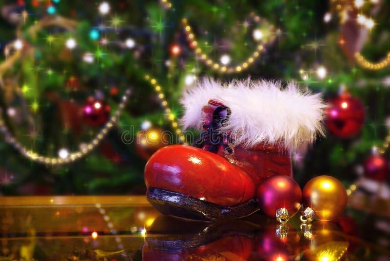 De laars van de Kerstman stock fotografie