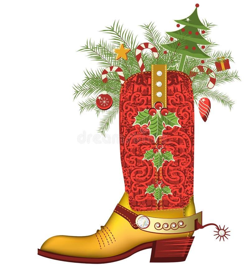 De laars van de Kerstmiscowboy. Luxeschoen op whit wordt geïsoleerd die stock illustratie