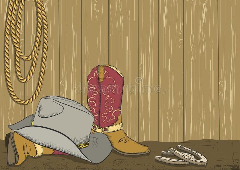 De laarzen en de hoed van de cowboy. Vector vector illustratie
