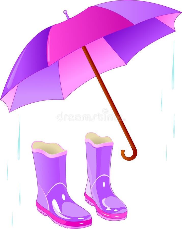 De laarzen en de paraplu van de regen stock illustratie