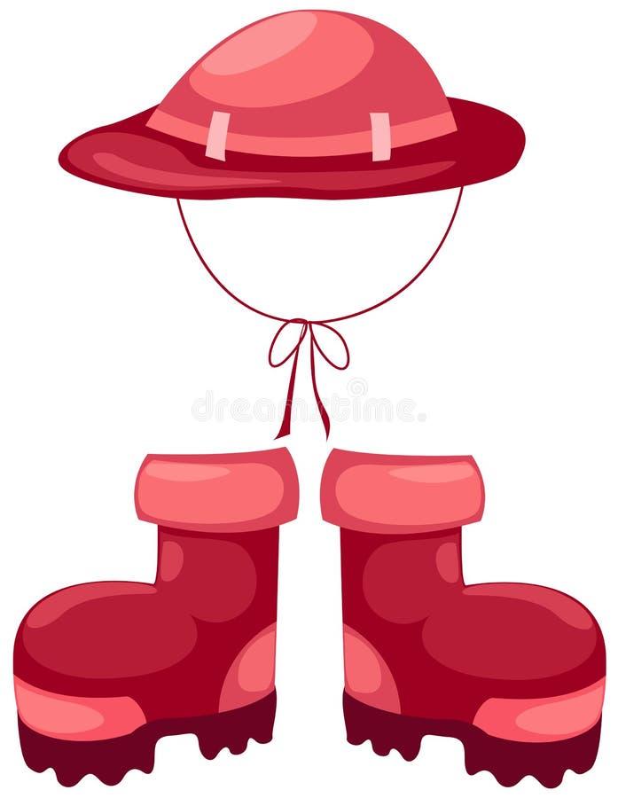 De laarzen van de wandeling met hoed royalty-vrije illustratie