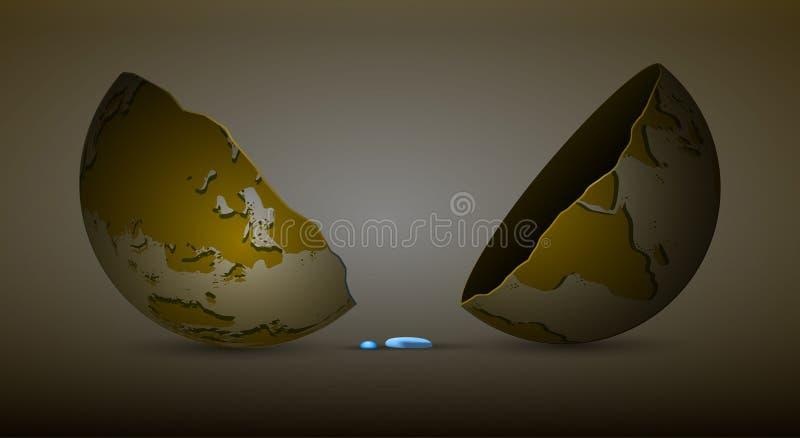 De laatste daling van water op aardeconcept, zoet watergrens op het planeetidee, geen water van middelen voorziet op de dode plan vector illustratie