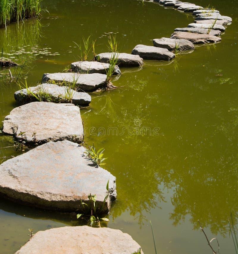 De laatste manier in het leven: stenen in het water voor concepten royalty-vrije stock fotografie