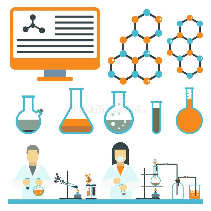 De laboratoriumsymbolen testen de medische van de het ontwerpwetenschap van de laboratorium wetenschappelijke biologie van de che vector illustratie