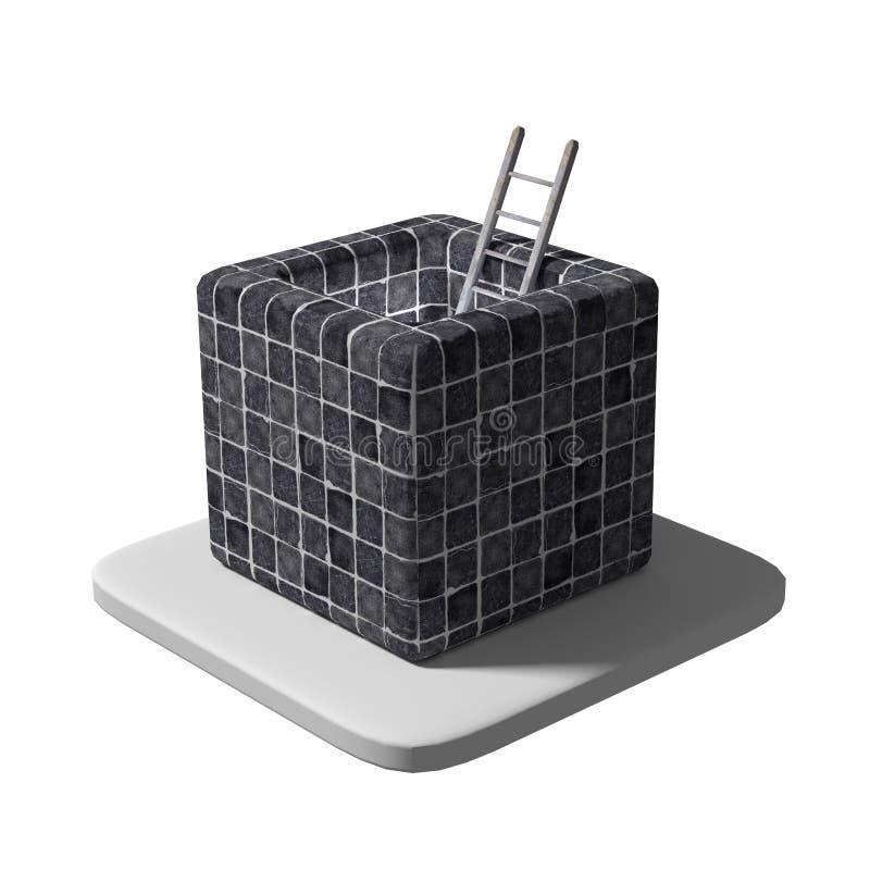 De ladder in betegeld blok stock illustratie