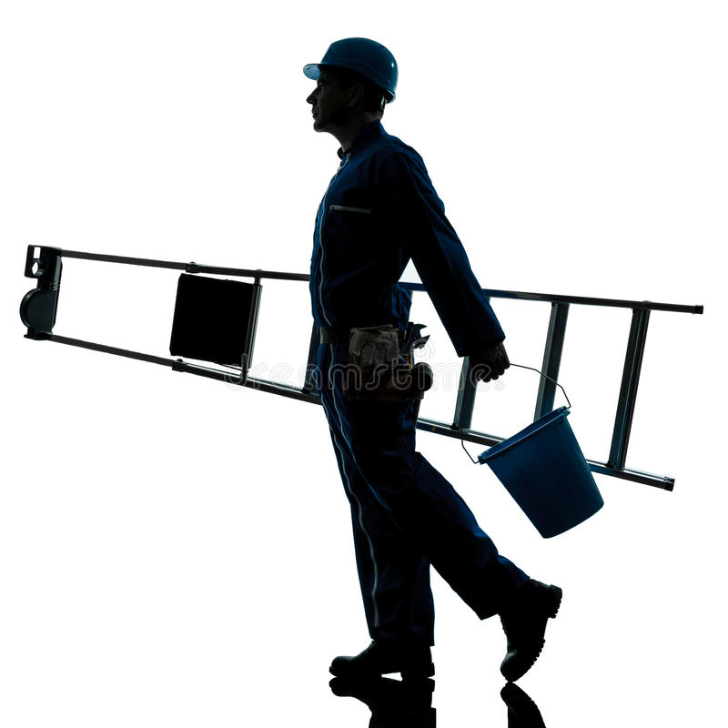 De ladder van de de mensenarbeider van de reparatie het lopen silhouet royalty-vrije stock fotografie