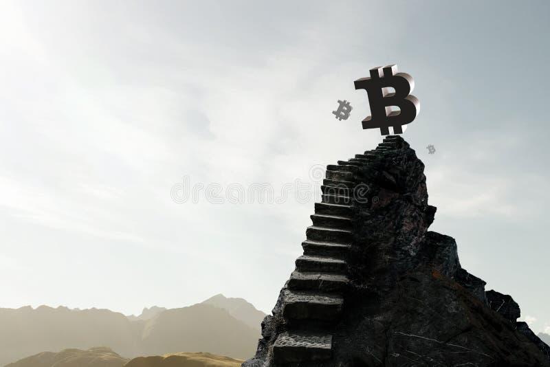 De ladder van het Cryptocurrencysucces in de hemel stock afbeeldingen