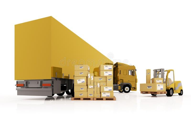 De lader laadt de pakketten in de vrachtwagen. vector illustratie