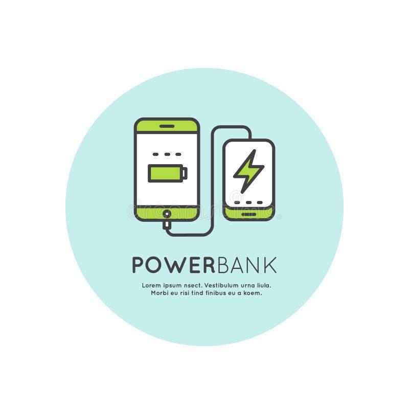 De Lader van de de Batterijtelefoon van de machtsbank stock illustratie