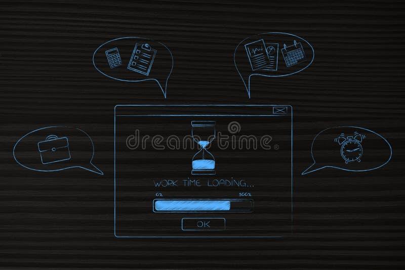 De lading van de het werktijd pop-up met vooruitgangsbar en grappig bellenverstand stock illustratie
