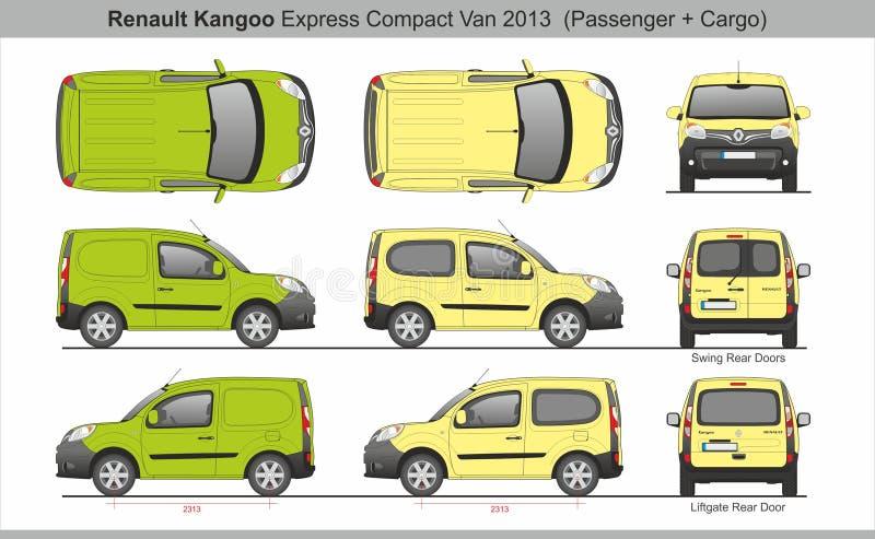De Lading van Renault Kangoo Express Compact SWB en Passagiersbestelwagen 2013 stock illustratie