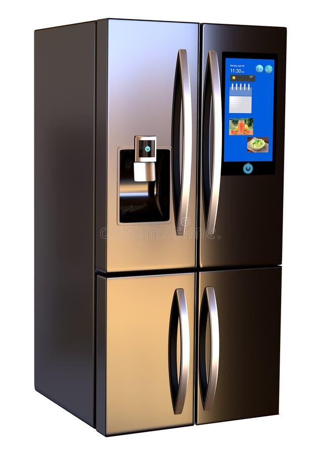 De lado a lado pantalla t?ctil elegante de acero inoxidable moderna del refrigerador Aislado en un fondo blanco libre illustration