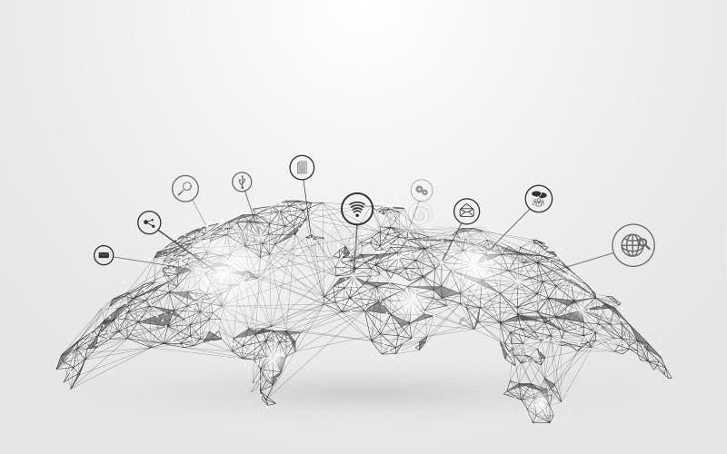 De lage Kaart van de veelhoekbol met sociaal pictogrammen wireframe netwerk op blauwe achtergrond royalty-vrije illustratie