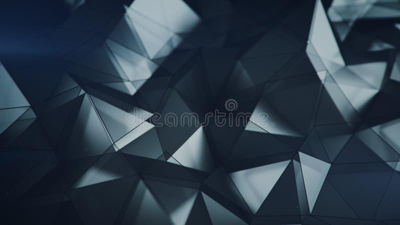 De lage poly 3D teruggevende abstracte achtergrond van de glasoppervlakte vector illustratie