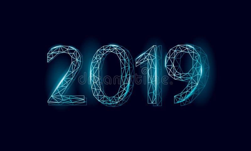 De lage poly 3D van het de datumaantal van 2019 kaart van de de vakantiegroet Gelukkige de hemelzwarte van de Nieuwjaar zilveren  stock illustratie