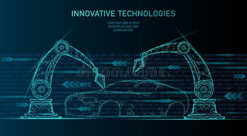 De lage poly robotachtige technologie van de de autoautomatisering van de wapenassemblage Industriële de machinelasser van de bed stock illustratie