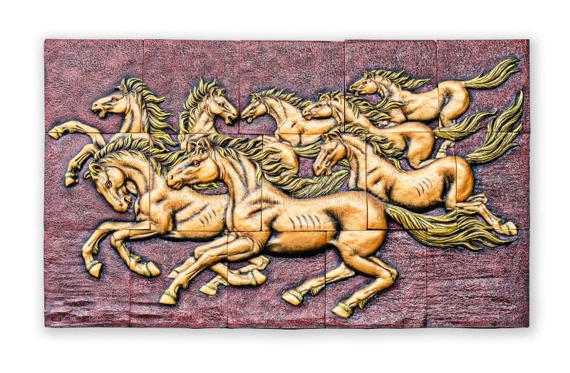 De lage Thaise stijl van het hulpcement handcraft van paard op muur royalty-vrije stock fotografie