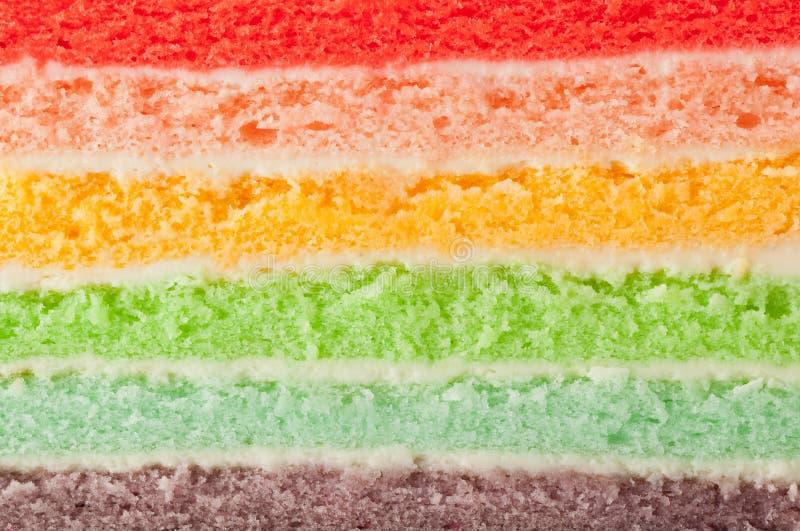 De lagen van de regenboogcake stock foto's