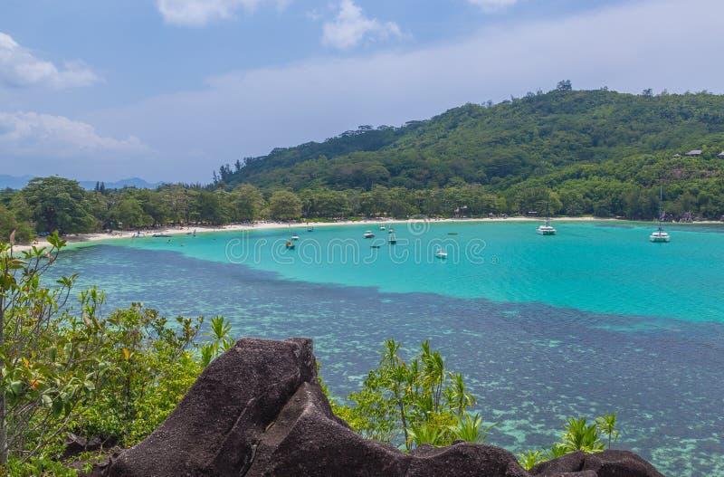 De Lagune van havenlaunay op Mahe Seychelles royalty-vrije stock foto