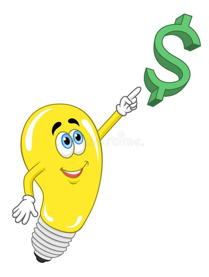 De lamp bereikt voor het geld royalty-vrije illustratie