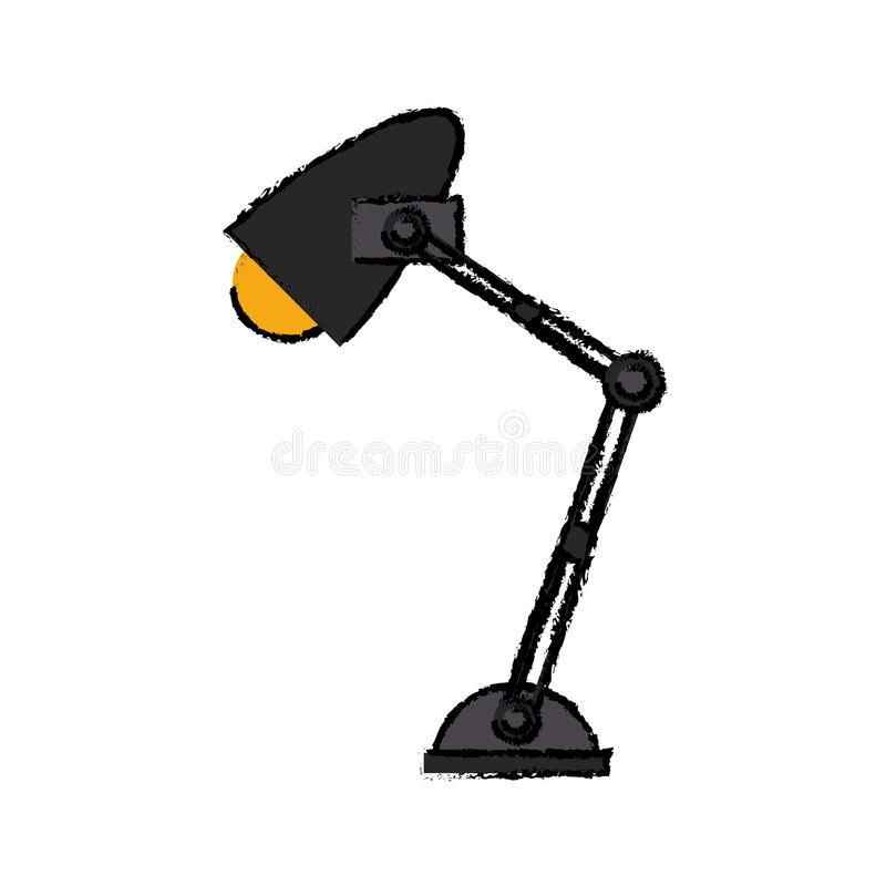 De lamp geel licht pictogram van het beeldverhaalbureau stock illustratie