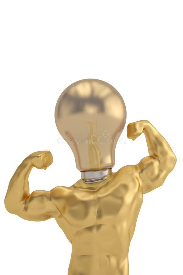 De lamp hoofd sterke mens van het ideeconcept op witte achtergrond 3d illust royalty-vrije illustratie