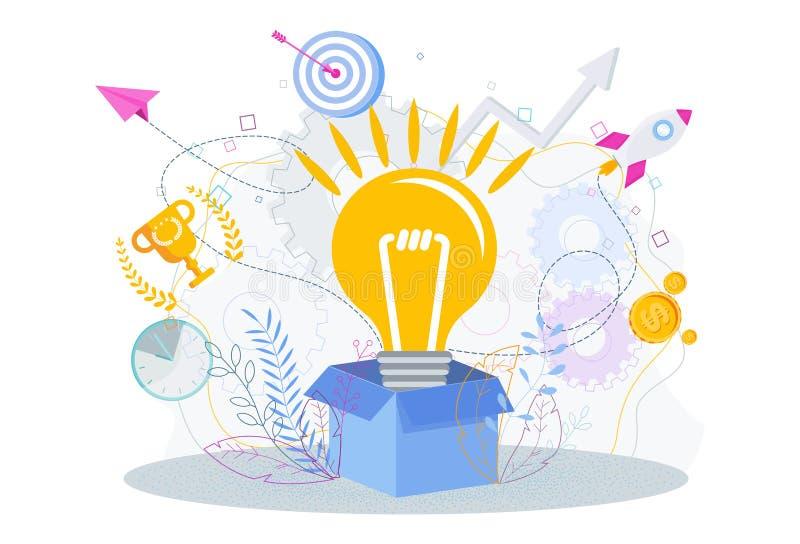 De lamp knalt uit de kartondoos Denk buiten de doos stock illustratie