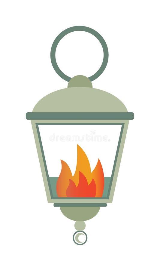 De lamp van de straatbrand die op witte vlakke vectorillustratie wordt geïsoleerd als achtergrond vector illustratie