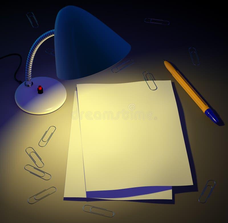 De lamp van het bureau geeft licht aan document pagina's. royalty-vrije illustratie