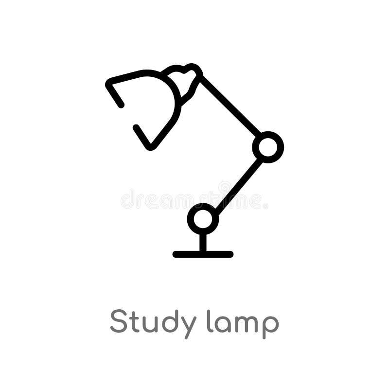de lamp vectorpictogram van de overzichtsstudie de geïsoleerde zwarte eenvoudige illustratie van het lijnelement van computerconc stock illustratie