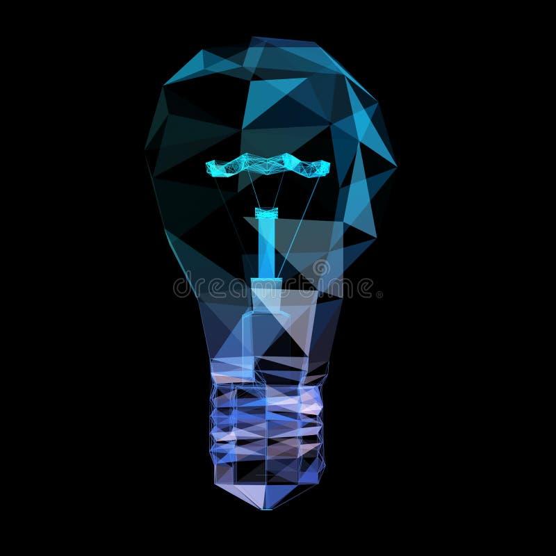 De lamp verbindt poligonaldriehoek Het concept communicatienetwerk stock illustratie