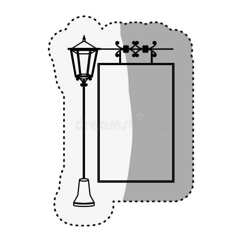 De lamppost van het stickersilhouet met affiche royalty-vrije illustratie