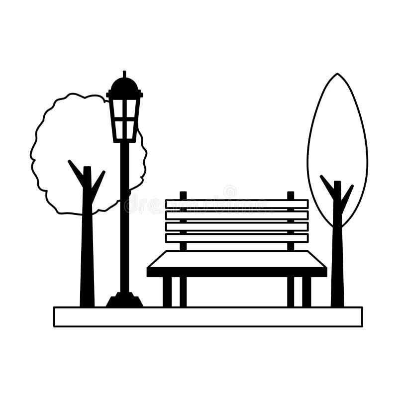 De lamppost van de parkbank stock illustratie