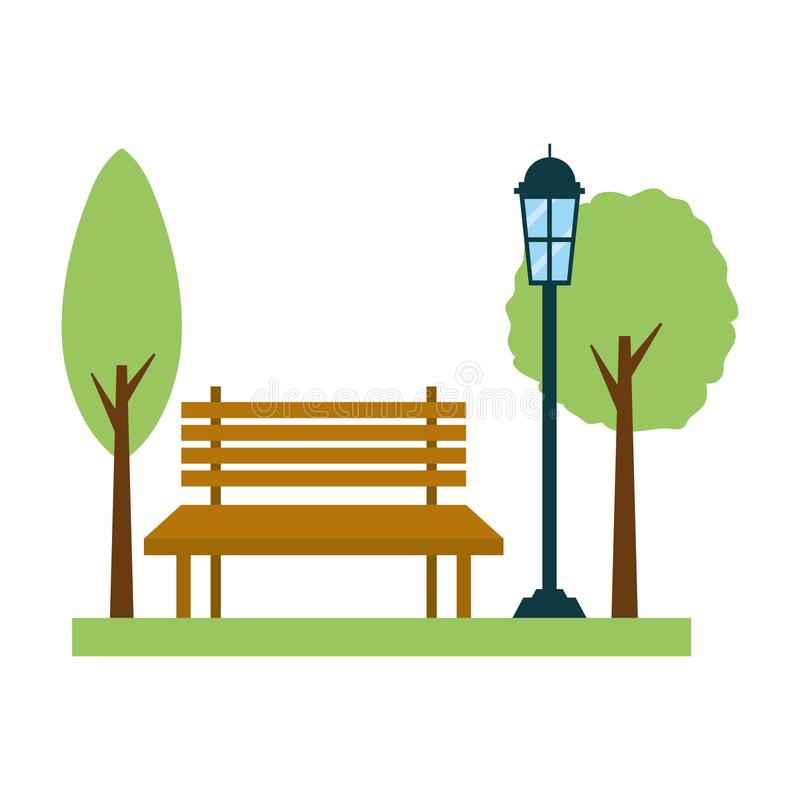 De lamppost van de parkbank vector illustratie